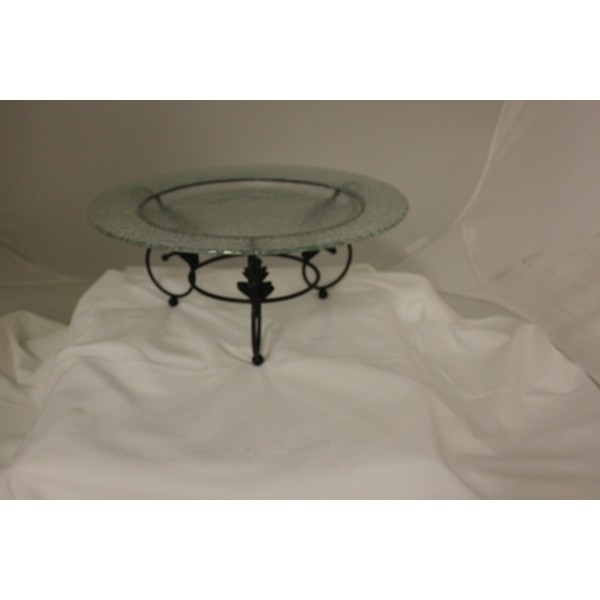 Glass Serving Platter W/Stand