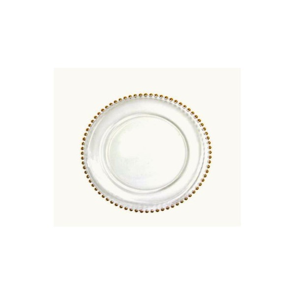 Clear Glass Beaded Couture Gold Charger